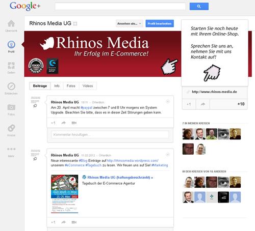 Layout für Google+ Unternehmensprofil   Rhinos Media®